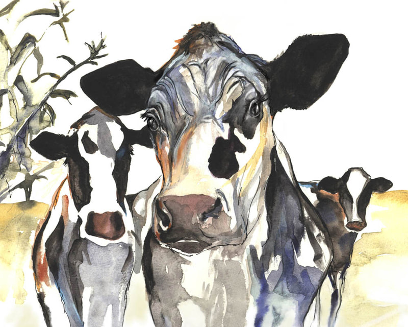 "Three Cows; Painting by Kate Green. Watercolour - 8"" x 10"" - SOLD"
