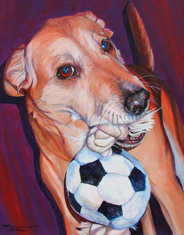 "Dog with Soccer Ball; Acrylic on Canvas - 24"" x 20"" - SOLD By Kate Green"