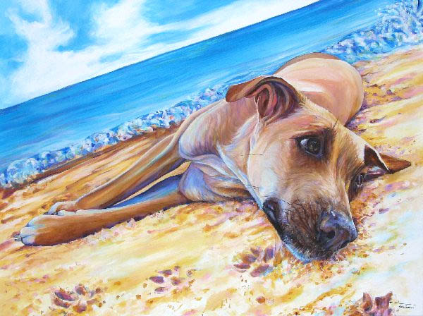 "Dog on a Beach; Acrylic on Canvas - 30"" x 40"" - SOLD By Kate Green"