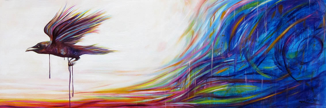"Escaping the Storm; Oil on Canvas - 16"" x 48"" $800 By Kate Green"