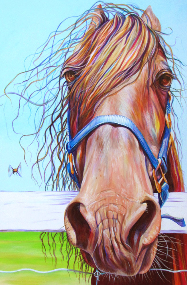 "Horse and Fly; Painting by Kate Green. Acrylic on Canvas - Each panel 40"" x 30"" - SOLD"