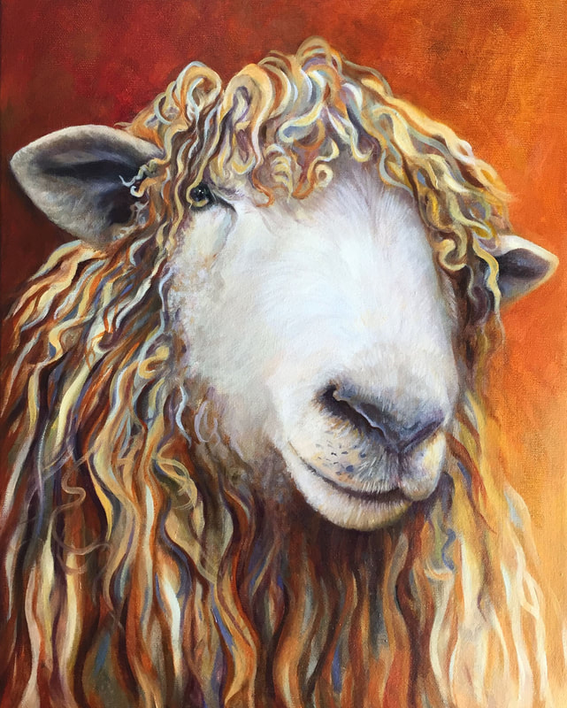 "Sheep - Painting by Kate Green; Oil on Canvas - 12"" x 16"""