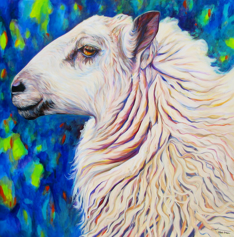 "Sheepish Grin; Painting by Kate Green. Acrylic on Canvas - 30"" x 30"" - SOLD"